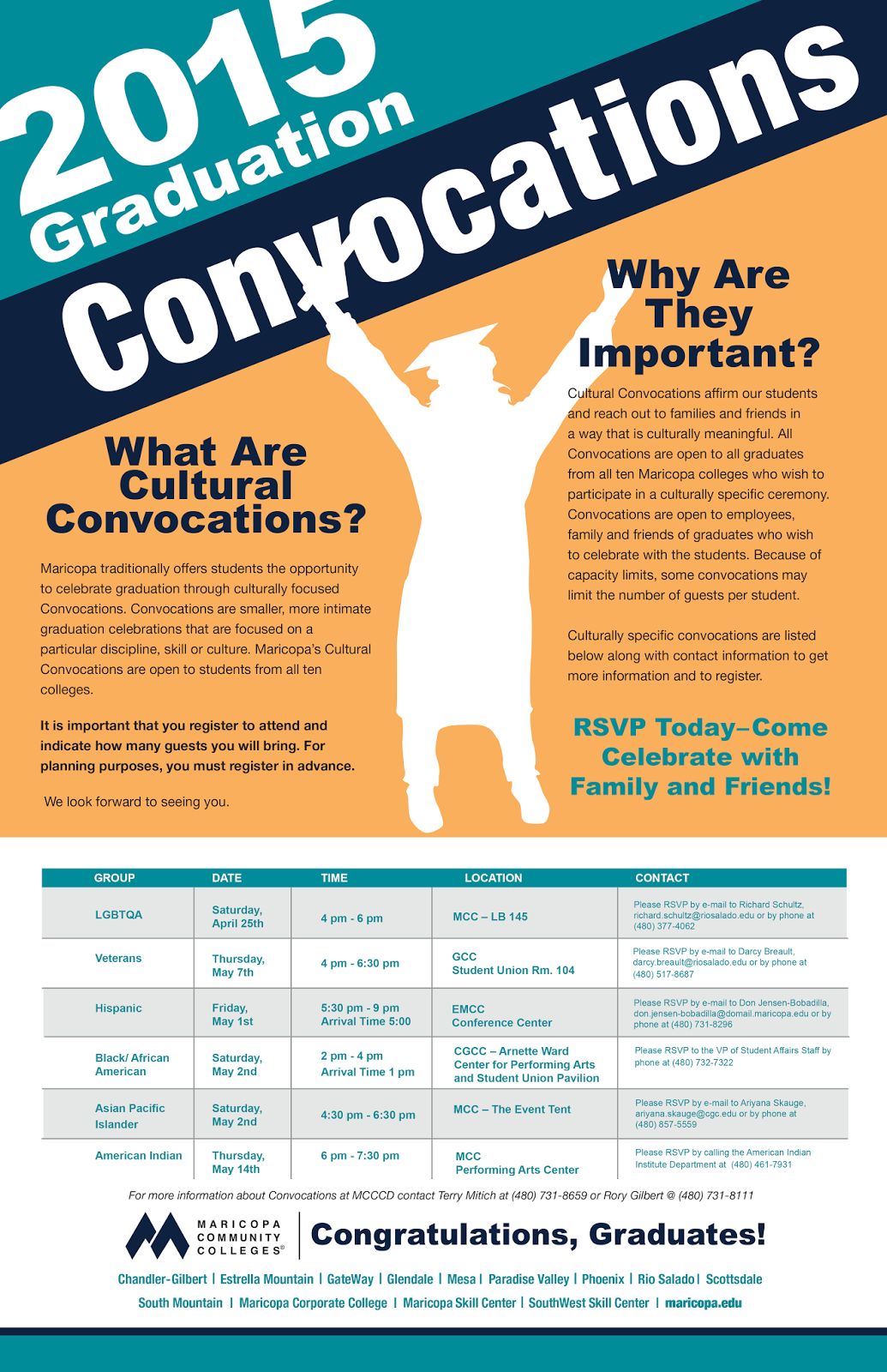 What are cultural convocations? Maricopa traditionally offers students the opportunity to celebrate graduation through culturally focused Convocations. Convocations are smaller, more intimate graduation celebrations that are focused on a particular discipline, skill or culture. Maricopa's Cultural Convocations are open to students from all ten colleges. It is important that you register to attend and indicate how many guests you will bring. For planning purposes, you must register in advance. We look forward to seeing you.Why are they important? Cultural Convocations affirm our students and reach out to families and friends in a way that is culturally meaningful. All Convocations are open to all graduates from all ten Maricopa colleges who wish to participate in a culturally specific ceremony. Convocations are open to employees, family and friends of graduates who wish to celebrate with the students. Because of the capacity limits, some convocations may limit the number of guests per student. Culturally specific convocations are listed below along with contact information to get more information and to register. RSVP today, come celebrate with family and friends! Group LGBTQA. Date: Saturday, April 25th. Time: 4 p.m. – 6 p.m. Location: MCC –LB 145. Contact: Please RSVP by e-mail to Richard Schultz, Richard.schultz@riosalado.edu or by phone at 480-377-4062. Group Veterans. Date: Thursday, May 7th. Time 4 p.m. – 6:30 p.m.. Location: GCC Student Union Rom. 104. Contact: Please RSVP by e-mail to Darcy Breault, darcy.breault@riosalado.edu or by phone at 480-517-8687. Group Hispanic. Date: Friday, May 1st. Time: 5:30 p.m. – 9 p.m.. Arrival time is 5:00 p.m.. Location: EMCC Conference Center. Location: Please RSVP by e-mail to Don Jensen-Bobailla, don.jesnsen-bobadilla@domail.maricopa.edu or by phone at 480.731.8296.Group Black / African American. Date: Saturday, May 2nd. Time: 2p.m. – 4 p.m., arrival time 1 p.m.. Location: CGCC – Arnette Ward Center for Performing Arts and Student Union Pavilion. Contact: Please RSVP to the VP of Student Affairs Staff by phone at 480-732-7322. Group Asian Pacific Islander. Date: Saturday, May 2nd. Time: 4:30 p.m. – 6:30 p.m.. Location: MSS – The Event Tent. Contact: Please RSVP by e-mail to Ariyana Skauge, ariyana.skauge@cgc.edu or by phone at 480-857-5559. Group American Indian. Date: Thursday, May 14th. Time: 6 p.m. – 7:30 p.m.. Location: MCC Performing arts Center. Location: Please RSVP by calling the American Indian Institute Department at 480-461-7931. For more information about Convocations at MCCCD contact Terry Mitich at 480-731-8659 or Rory Gilbert at 480-731-8111.