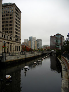 Downtown Providence preparing for the Water Fire show on the water canals