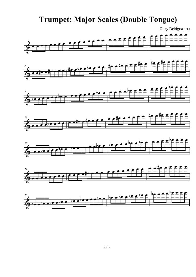 Trumpet: Trumpet: Major Scales (Double Tongue)
