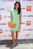 Angie Harmon hot in mint green lace drerss