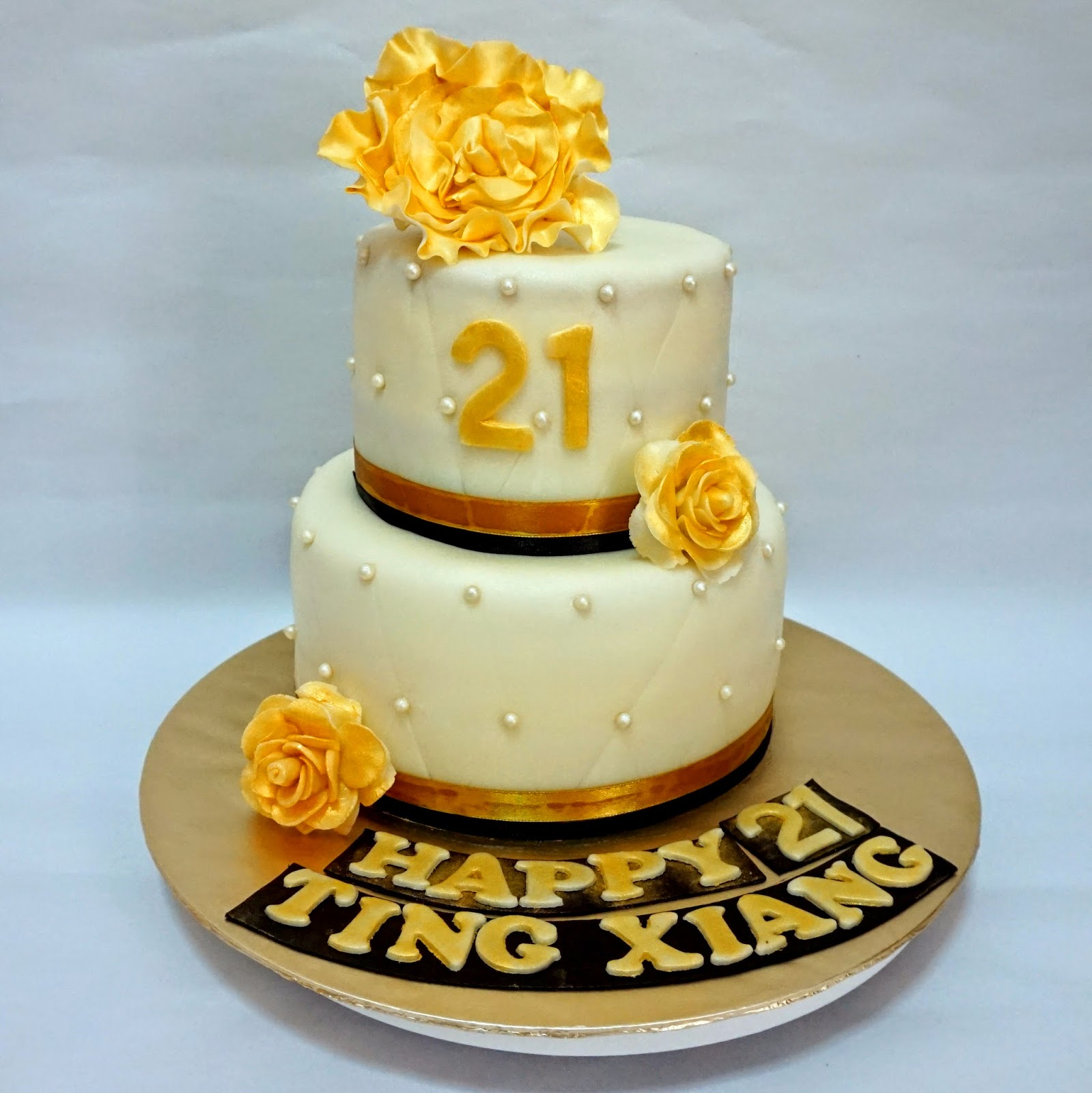 Gold And Black 21st Birthday Cake Sherbakes