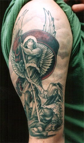 Arch angel tattoos 2015 for Angel half sleeve tattoo