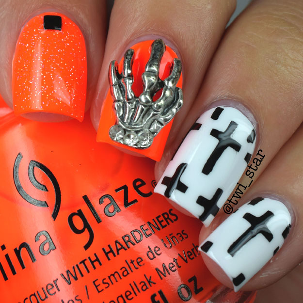 China Glaze Japanese Koi skeleton and Cross mani