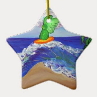 Surfing Raphael Riding Healing Waves Ornament