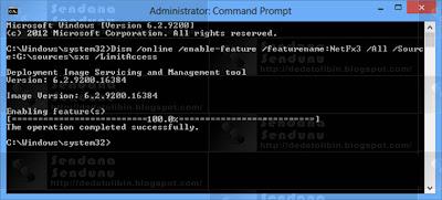 Finish Cara Install .NET Framework 3.5 Secara Offline pada Windows 8