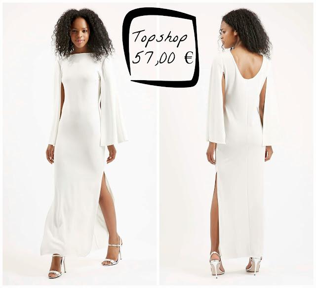 vestido novia largo blanco manda larga original moderno Topshop barato low cost