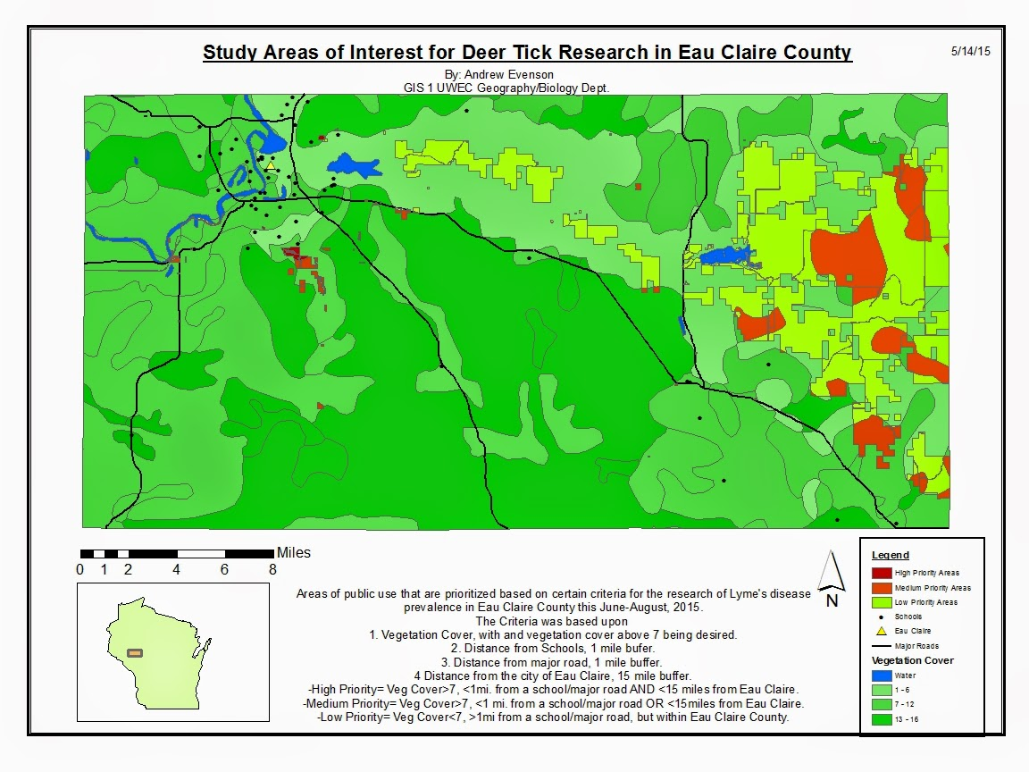 figure 3 map depicting public use lands of eau claire county wisconsin ranked based upon certain criteria for the research of lyme s disease and deer tick