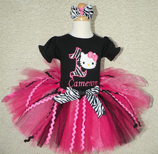 Black n Hot Pink Zebra Hello Kitty Birthday Tutu Set