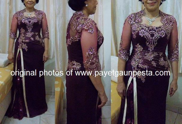 Payet Gaun Pesta Contoh Jahitan Baju Mama Dan Besan Brokat Ungu