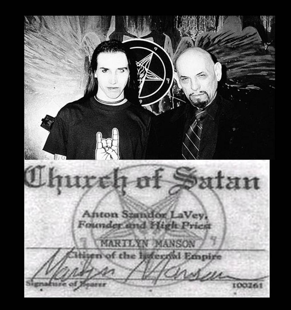 the uk s telegraph reports on satanic hollywood true thinker marilyn manson as in marilyn monroe and charles manson anton lavey