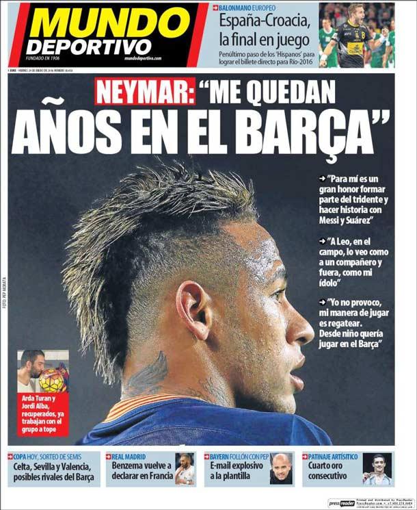 Portada del periódico Mundo Deportivo, viernes 29 de enero de 2016