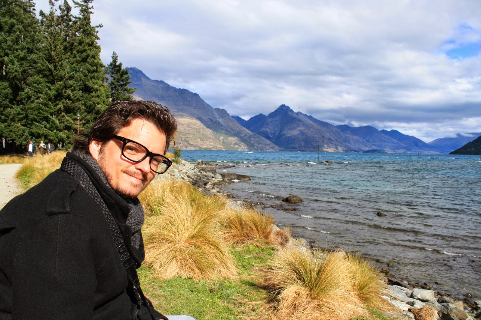 Jesse near Tussock grass at Lake Wakatipu, Queenstown.