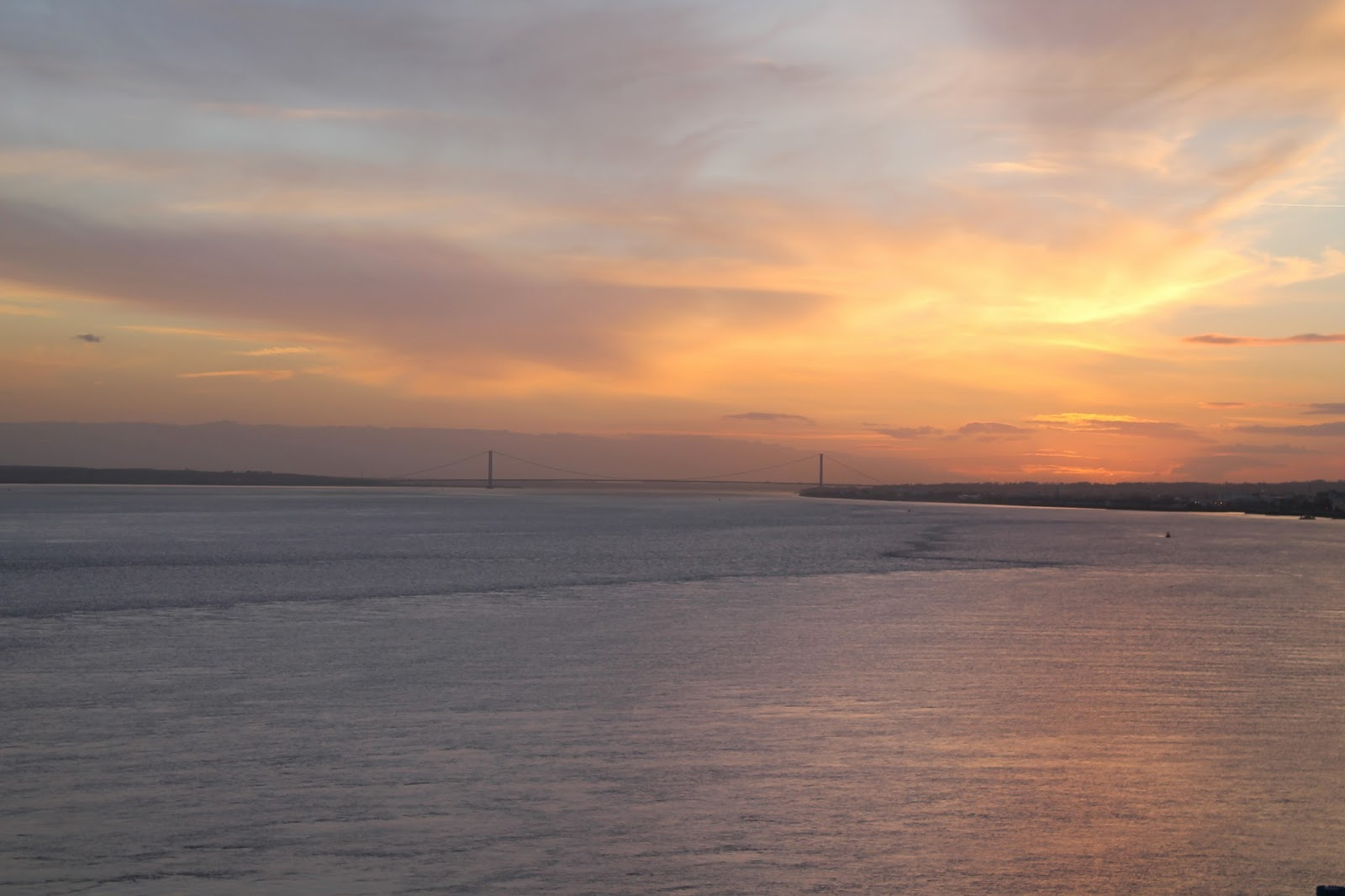 P&O Ferry to Amsterdam from Hull - Sunset over Humber Bridge