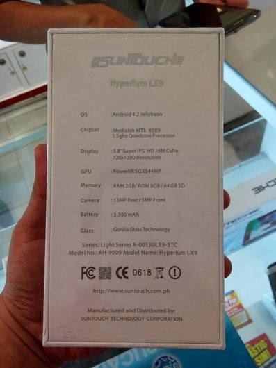 SunTouch Hyperium LX9 - Specs on the box
