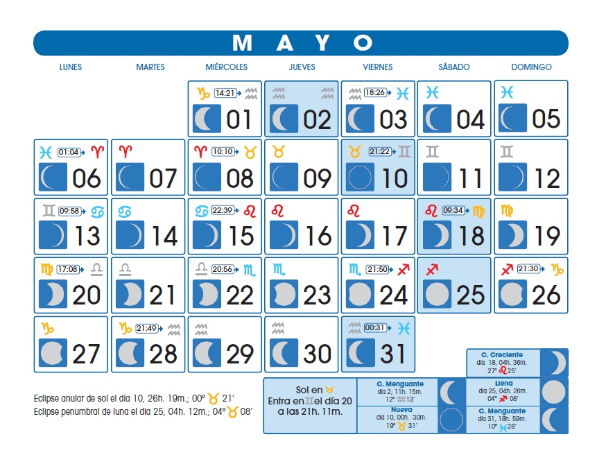 La magia de agata calendario lunar abril mayo 2013 for Calendario lunar mayo