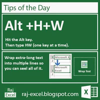 Microsoft Excel 2013 Short Cut Keys: Alt + HW