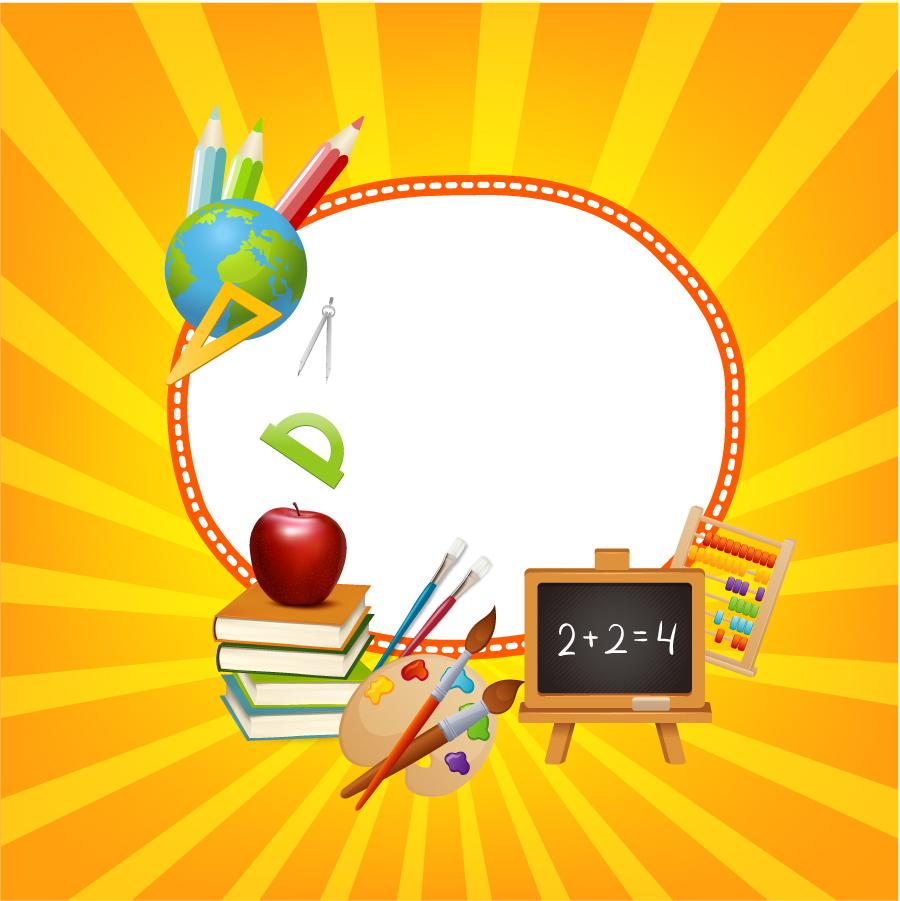 文房具で囲んだフレーム learning child art education frame イラスト素材