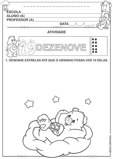 Atividade Numeral 19 Ursinhos Carinhosos completando quantidade.