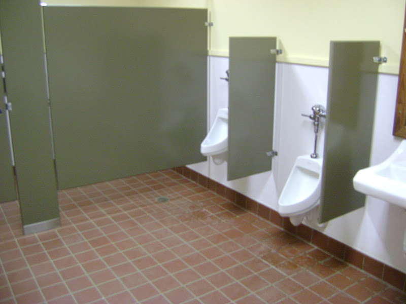 In a strange coincidence, the urinal dividers match visitors  title=