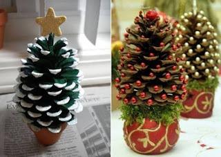manualidades de navidad para el arbol, manualidades navideñas para el arbol, manualidades con piñas de pino, como decorar una piña de pino para navidad