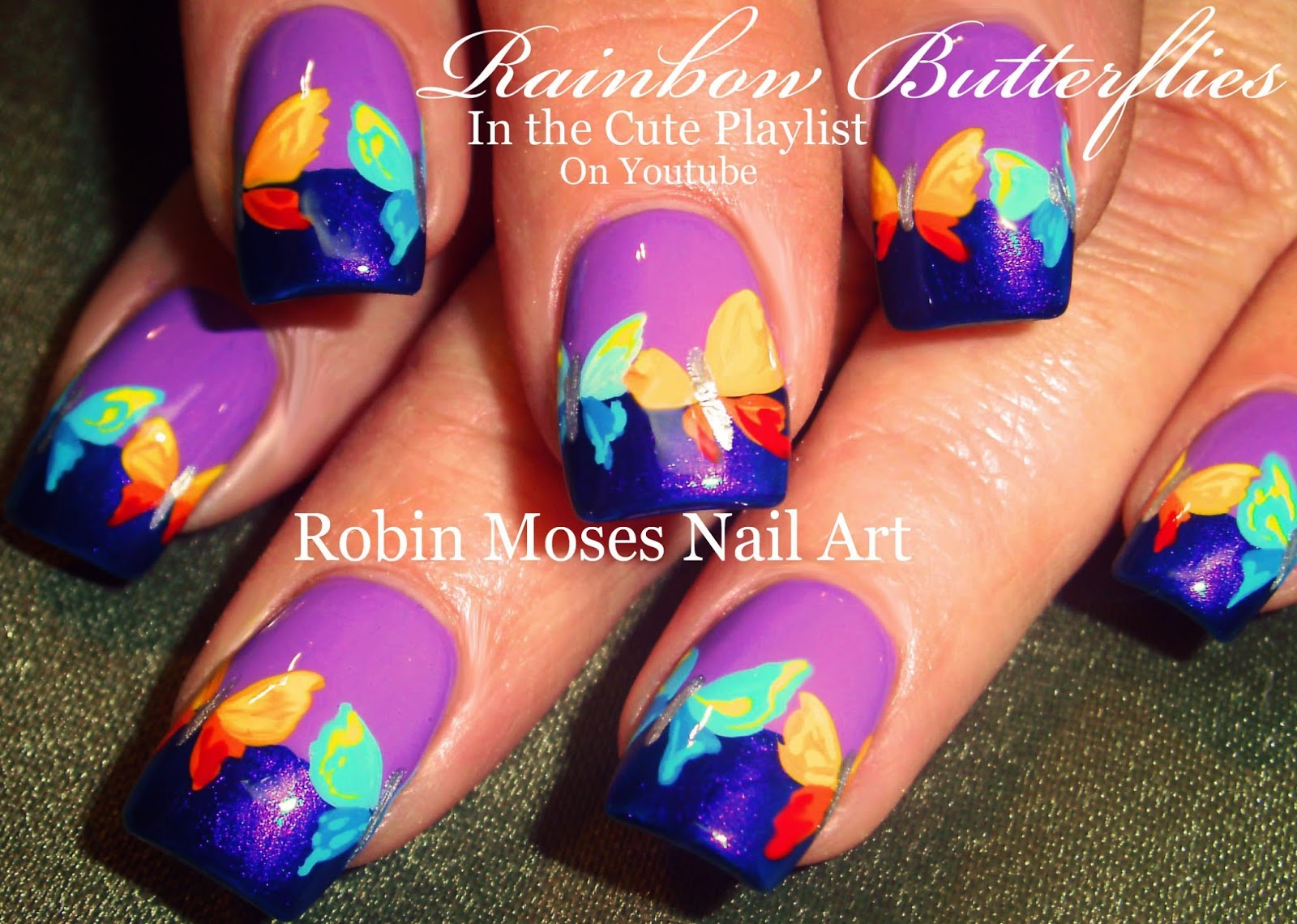 Butterfly Nails Nail Art Lavender