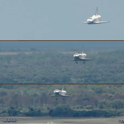 Shuttle Discovery: Last approach as it lands on runway 15 of Kennedy Space Centre. NASA, 2011.