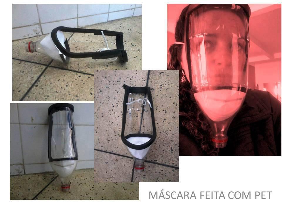 Exemplo: Máscara de gás lacrimogênio feita com garrafa pet