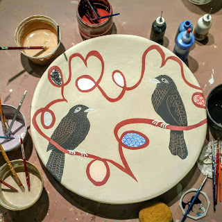 Painting platter, Ribbon and Ravens, cathy kiffney
