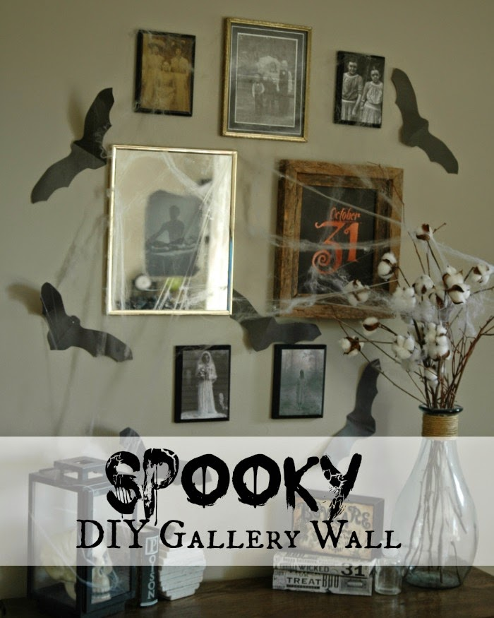 Diy spooky halloween mirror and gallery wall little for Diy haunted house walls