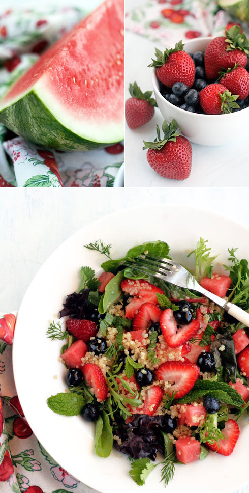 Quinoa salad with blueberries, strawberries and mint.