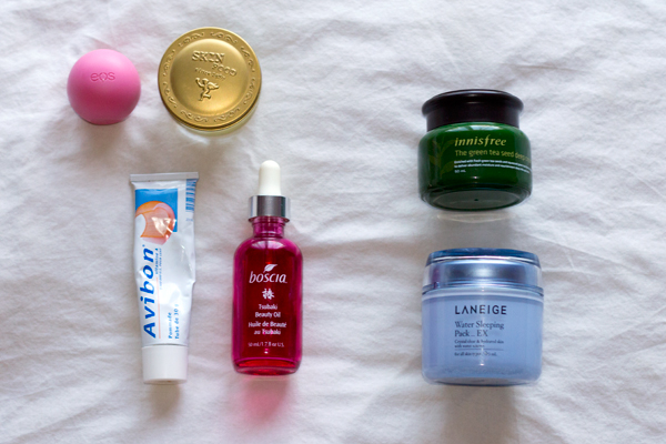 winter skin tips, face balm, laneige sleeping pack, boscia oil, facial oil, avibon, skinfood, eos, skincare, korean skincare, korean beauty, innisfree, green tea seed deep cream