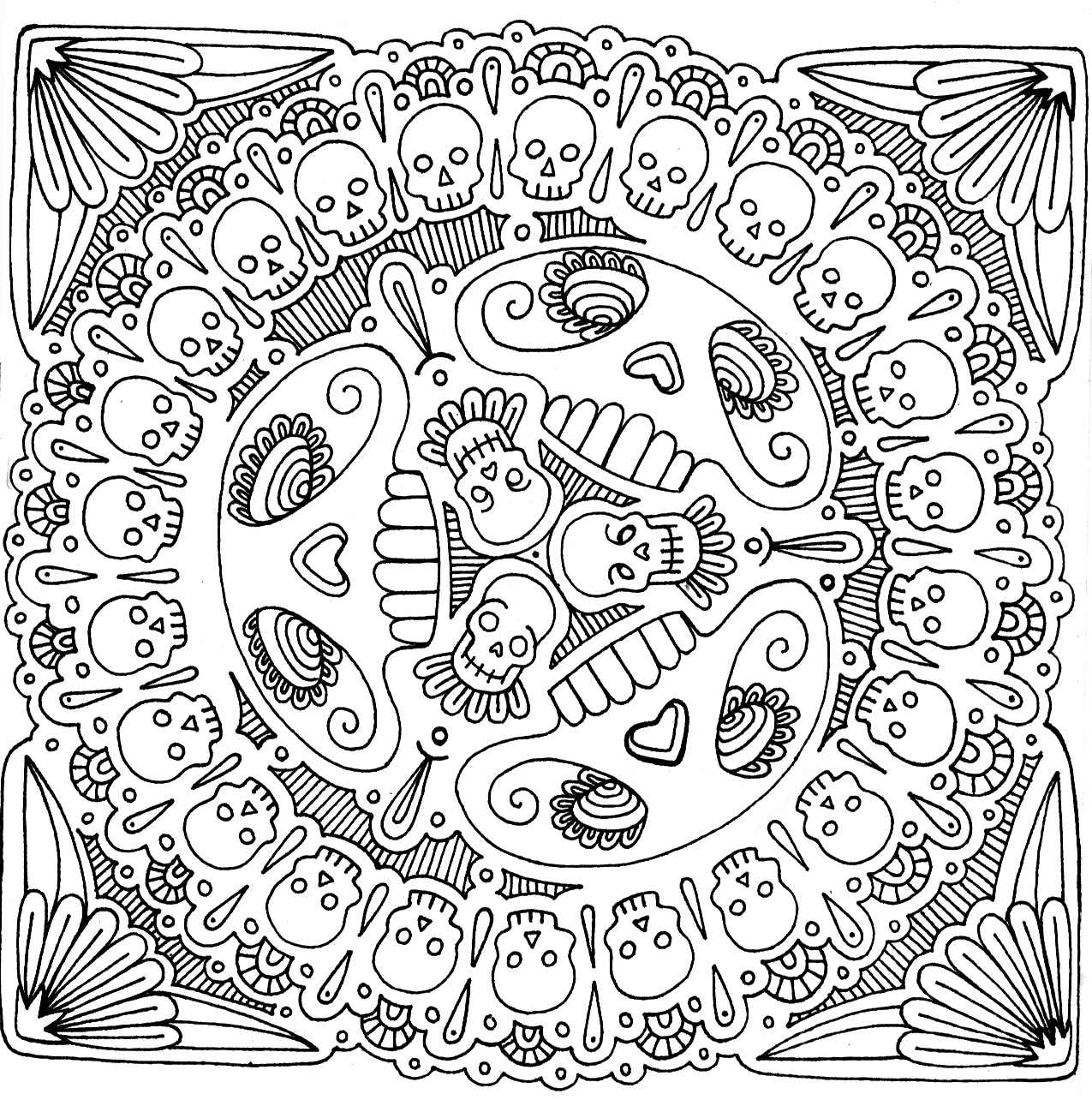 sugar skulls coloring pages coloring pages gallery