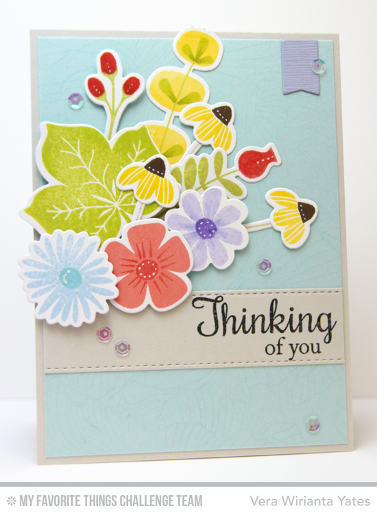 Delicate Thinking of You Card by Vera Wirianta Yates featuring the Fall Florals and Lisa Johnson Designs Fall Foliage stamp sets and Die-namics #mftstamps