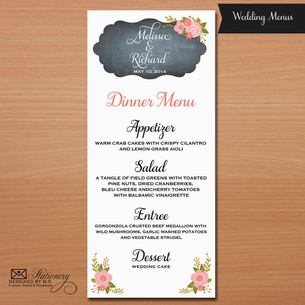 Chalkboard Wedding Menu - great for a garden party or rustic wedding