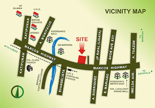 Bali Oasis Marcos Highway Pasig Location Map, Condominium for sale in Marcos Highway, Filinvest