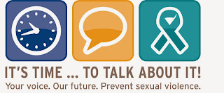 Logo for Sexual Assault Awareness Month with clock, talk bubble and ribbon and message its time to talk about it!
