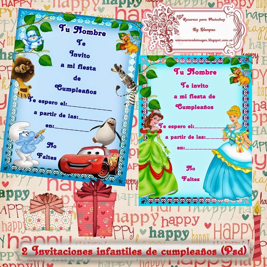 Recursos Photoshop Llanpac: 2 tarjetas para invitaciones infantiles ...
