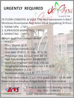 Lowongan Kerja di Batu Malang, De Puspa Condotel & Villa Villa