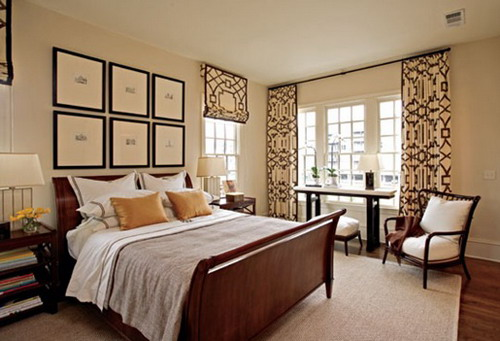 ivory black drapes bedroom window treatment