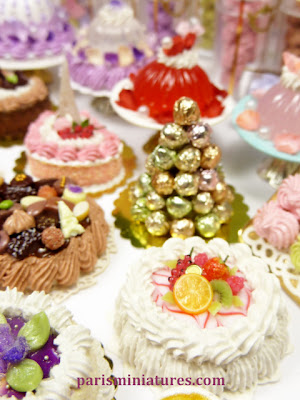Handmade miniature French cakes and food