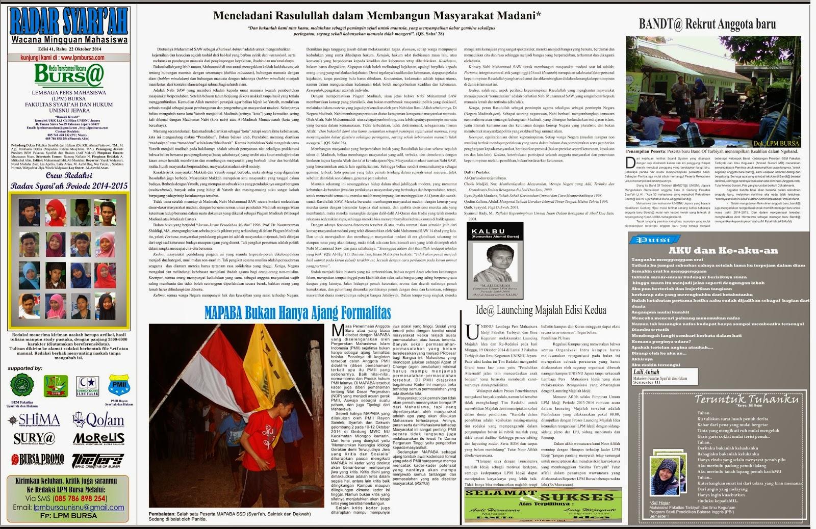RAdar Syari'ah edisi 41, Keteladanan Rasullah, UNISNU, Fakultas Syari'ah dan Hukum UNISNU Jepara