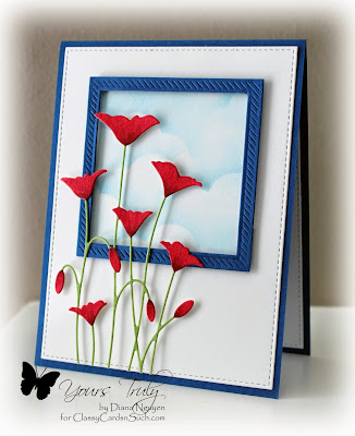 Diana Nguyen, Poppy, Memory Box, card, MFT, Stitched, Diagonal