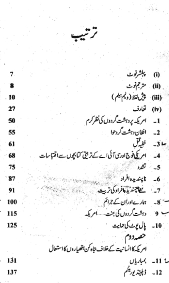 Badmash Amrica pdf Urdu book Index page