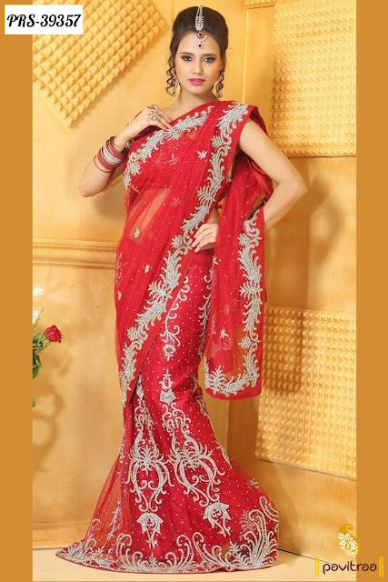 Karva Chauth special red net designer saree  collection online shopping