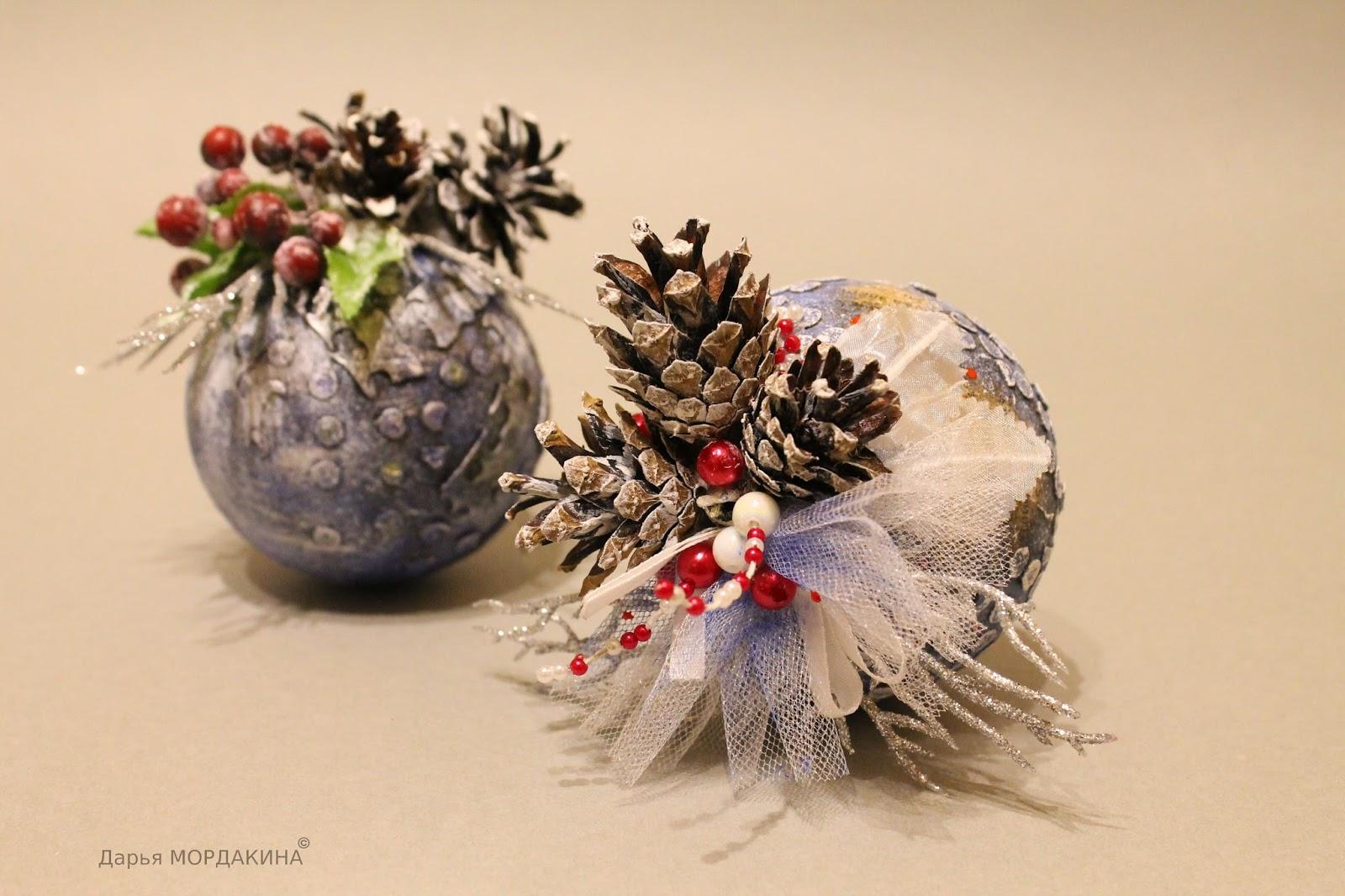 новый год, шар, шишки, елочный шарик, калина, декупаж, зима, елка