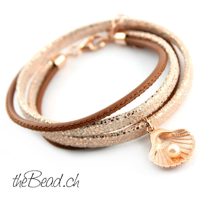wickel lederarmband mit 925 sterling silber muschel anhänger mit echter perle rosegold farben bei www thebead ch