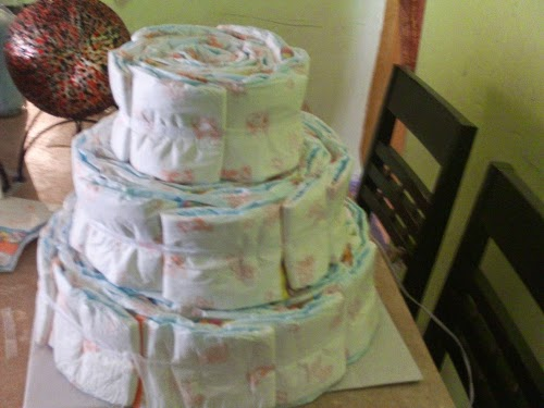 Decoracion para Baby Shower, Torta de Pañales