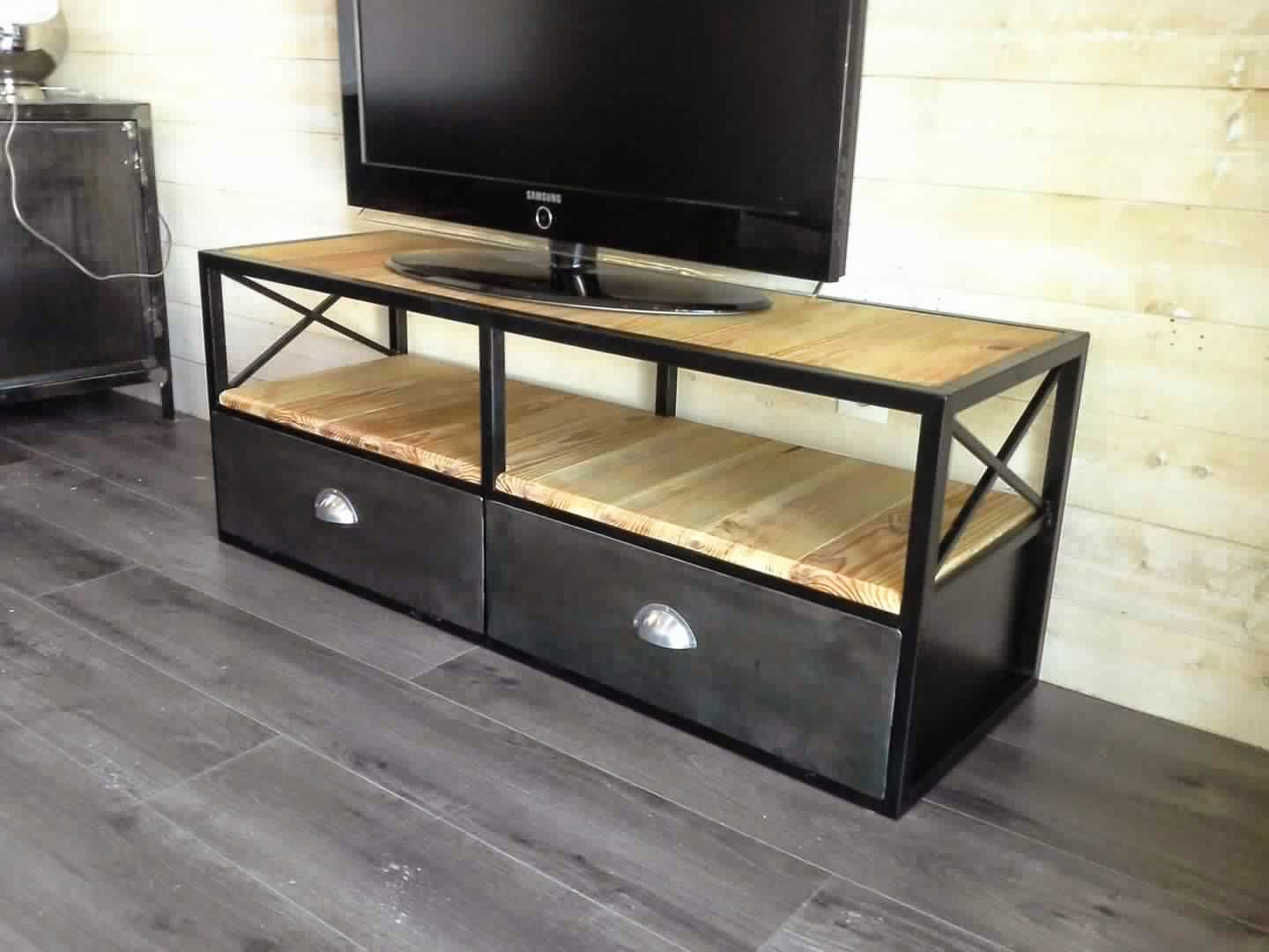 meuble tv industriel meuble d coration maison. Black Bedroom Furniture Sets. Home Design Ideas
