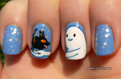 Polish Rainbow nail art: Adventure Time Snow Golem and fire wolf pup nails.
