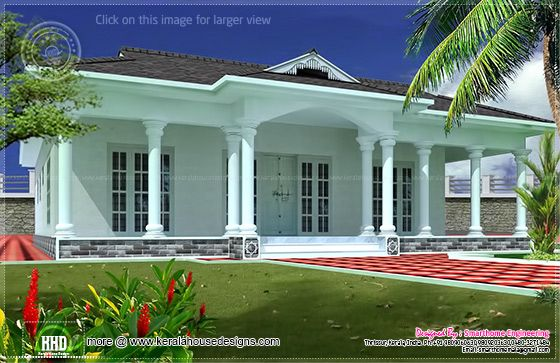 Single floor Kerala home. 1600 sq ft Single story 3 bed room villa   House Design Plans